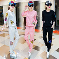 2017 spring women's new long sleeved 2 piece set women slim all-match long pants casual sportswear