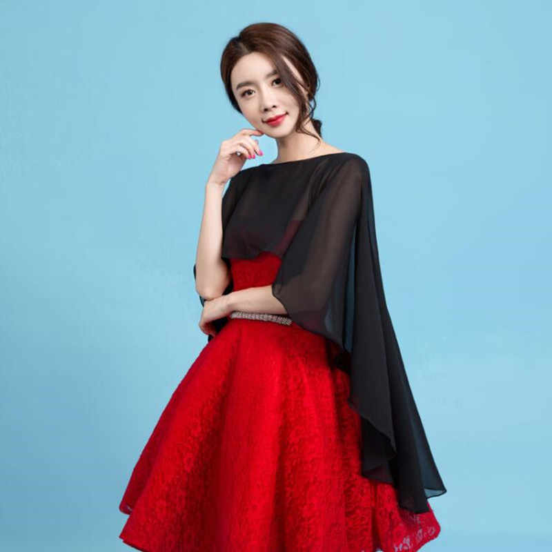 d76d9f6dd504b ... Long Chiffon Cape Shawl Wedding Jacket Women Shrug Bolero Wraps Black  Off White Red One Size ...