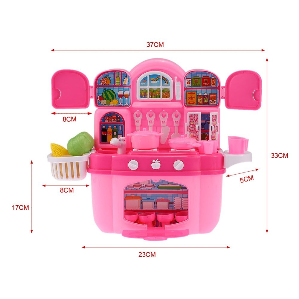 EBOYU(TM) Children Kids Kitchen Cooking Play Toy Set Cabinet Play House Flashing Lights and Music Stove Burners Cooking Food