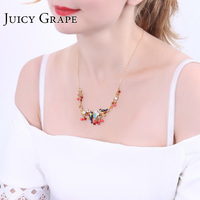 Juicy Grape 2019 New Oriole Bird Red Cherry Gilded Clavicle Chain Popular Maxi Colar Necklace Choker Women Crystal Jewelry