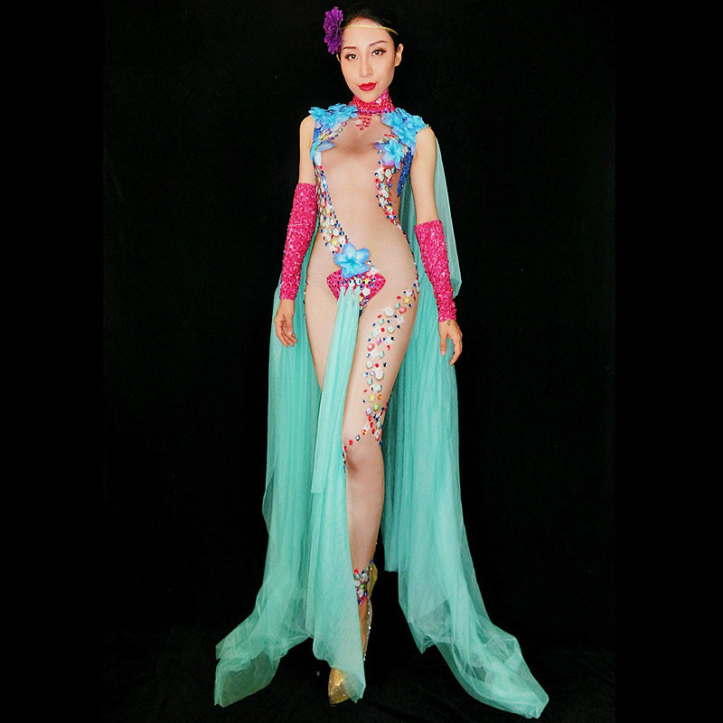 Women's Nightclub Rhinestones Sexy Bodysuit Stage Crystal Costumes Singer Dancer Prom Show Female Jumpsuit Rompers Performance