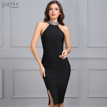 Bandage Dress Luxury Celebrity Evening Party Dresses Sleeveless Split Halter Diamonds Black Dress Vestidos
