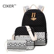 Ciker новый национальный ноутбук рюкзак женщины холст печати рюкзаки для девочек-подростков школьные сумки книга чемоданчик Mochilas 3 bag/set