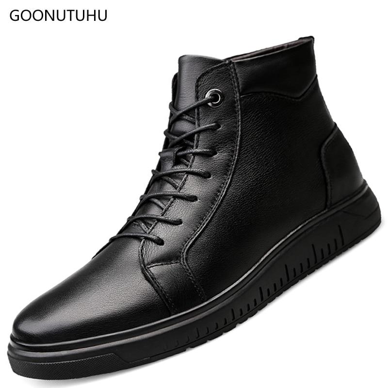2018 Neue Winter Stil Männer Stiefel Schnee Echtem Leder Schwarz Schuhe Mann Boot High-top Plattform Schuh Hinzufügen Plüsch Stiefeletten Für Männer StraßEnpreis