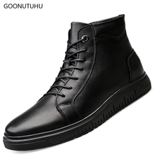 2019 new winter style men's boots snow genuine leather black shoes man boot high-top platform shoe add plush ankle boots for men camel active new men shoes high top ankle boots luxury trainers genuine leather sneaker winter boots split leather snow boots