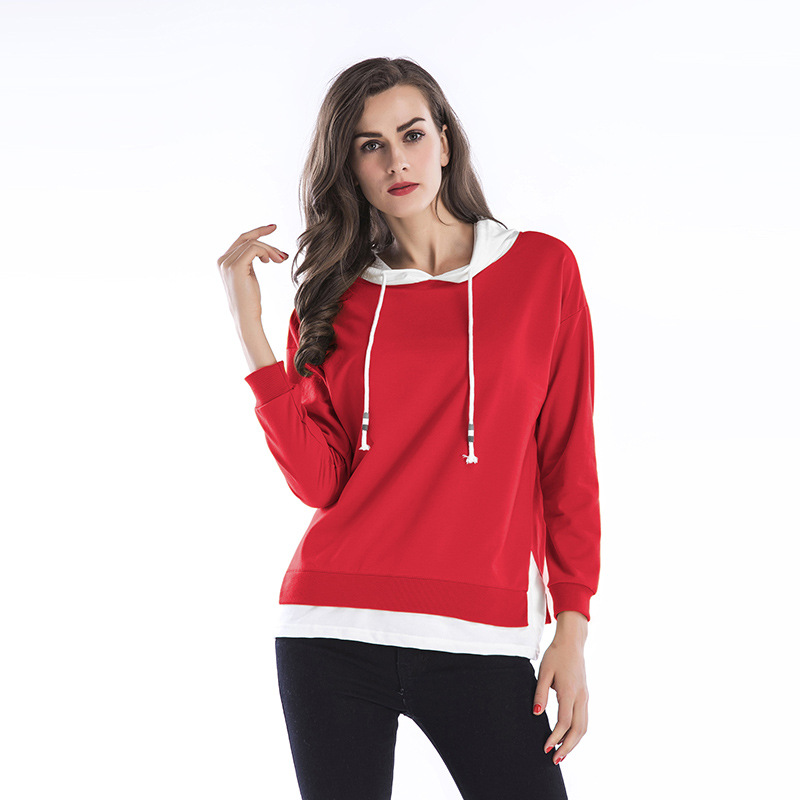 Early Spring New Color Matching Two Female Drawstring Hood Leisure Loose Large Size Women'S Clothing