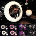 100% Pure Wool Winter Car Steering Wheel Covers Gear Shift Collars Steering Wheel Hubs Protector Comfortable