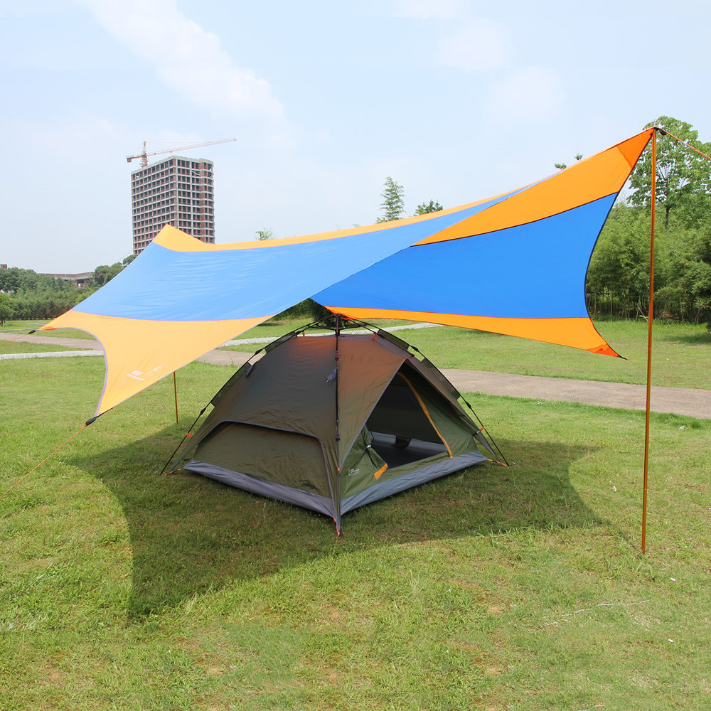 Outdoor Tent Shelter Beach Sun Shade Beach Tent UPF50+ Sun Shelter Sun Awning Gazebo Camping Tent Shade 2 Free Poles 550*560cm sun god totem beach throw