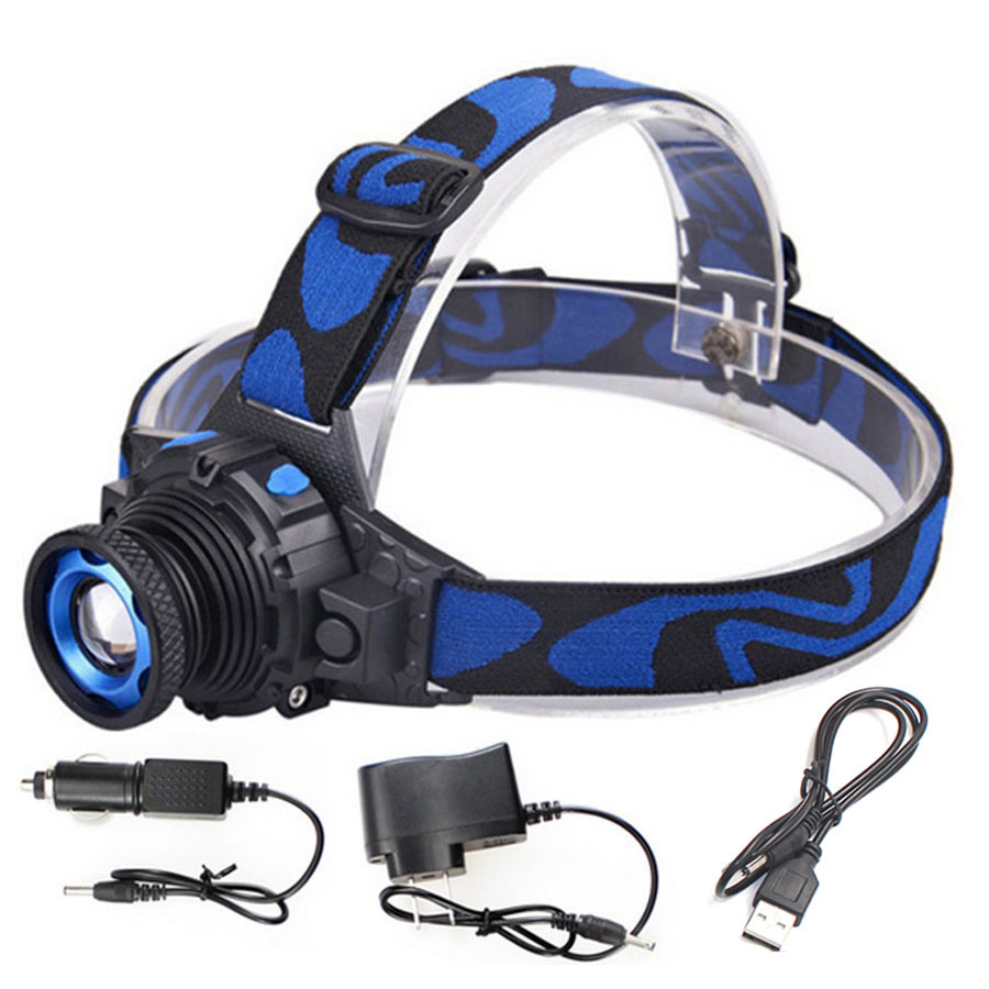 Zoomable 3 mode cree Q5 Led bright Headlamp Head light head Flashlight head Build-in Rechargeable Head lamp no need 18650