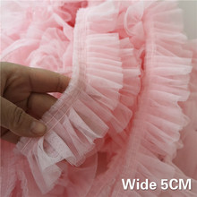 5CM Wide Double Layers 3D Pleated Mesh Lace Fabric Ruffle Trim Embroidered Collar Ribbon Sewing Clothing Skirt Splicing Material