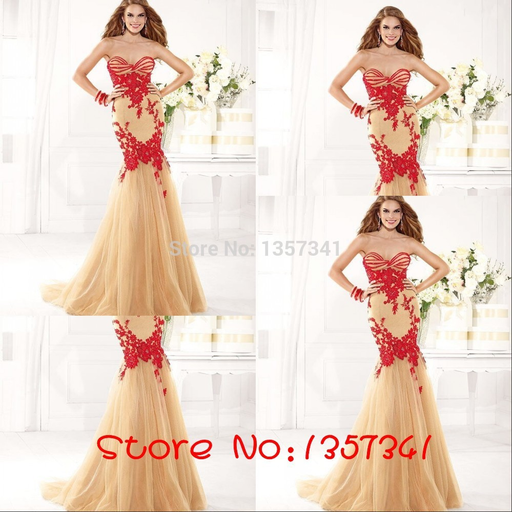 2018 Free Shipping Custom Floor Length Appliques Sweetheart Natural Tulle Red Long Lace Prom Dresses Mermaid Evening Dress CF013 in Prom Dresses from Weddings Events