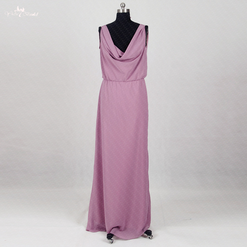 RSE290 Cheap-Wedding-Guest-  Dress   Long Chiffon Purple   Bridesmaid     Dresses   Cheap Party   Dress