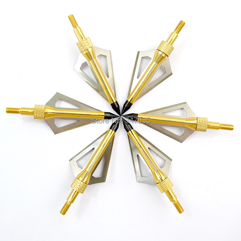 12 pcs Gold 100 Grain hunting Broadheads <font><b>Crossbow</b></font> Arrow Head Tips Bolts archery bow Free shipping image