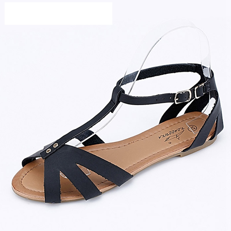 2016 New Gladiator Sandals Casual Flat Shoes Woman Summer Style Flats Fashion Buckle Women Shoes Plus