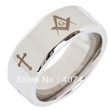 Envío Libre Barato Precio EE.UU. Canadá REINO UNIDO Rusia Brasil Caliente de venta 8mm hombres de plata biselados masonic tungsten anillo tamaño de la boda 6-13