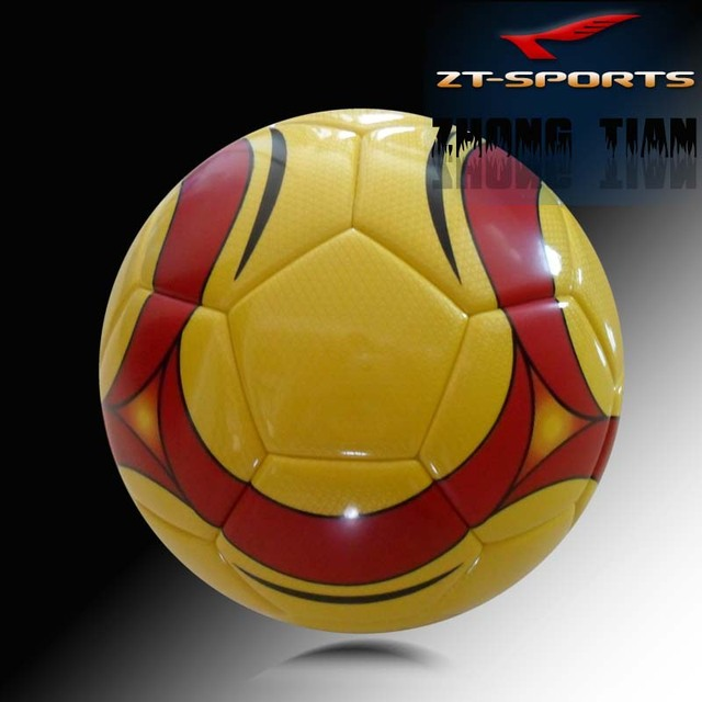 Free shipping size 5soccer ball  yellow football  PU material promotional ball