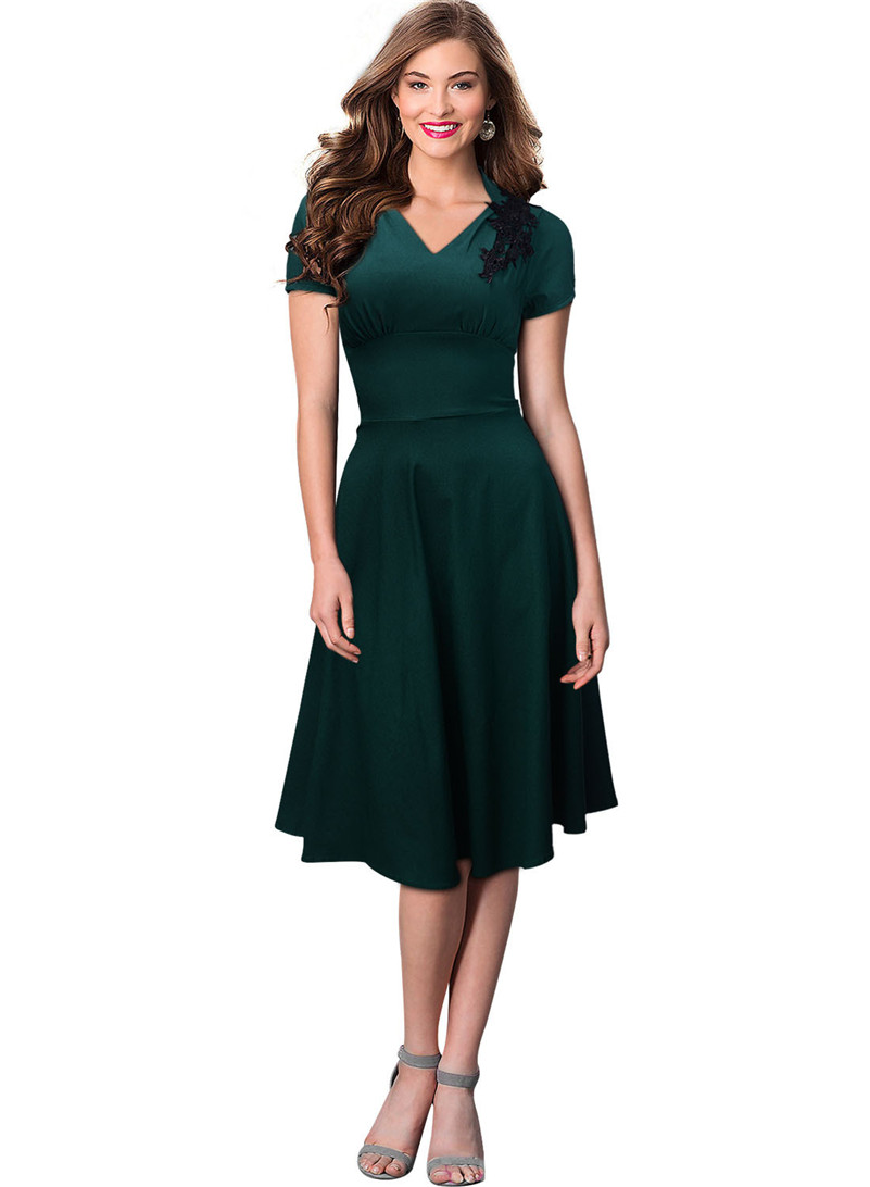 Ceremony Elegant Fashion Flare Green Dress Women 2017 Nylon Social ...