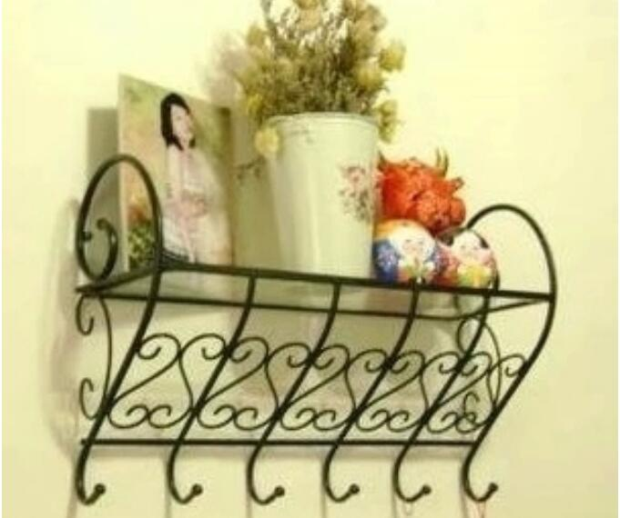 Retro Multipurpose Bathroom Shelves Wall-Mount Storage Towel Rack Iron Storage Holder Bedroom Clothes Hanger wall mount stainless steel 2 layers storage basket shower room bathroom towel rack soap dish shampoo rack bathroom shelves