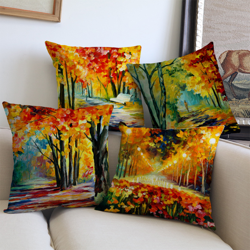 Scandinavian Oil Painting Golden Autumn Forrest Cushions Cover For Home Decoration Sofa Throw Pillow Covers Linen Pillowcase