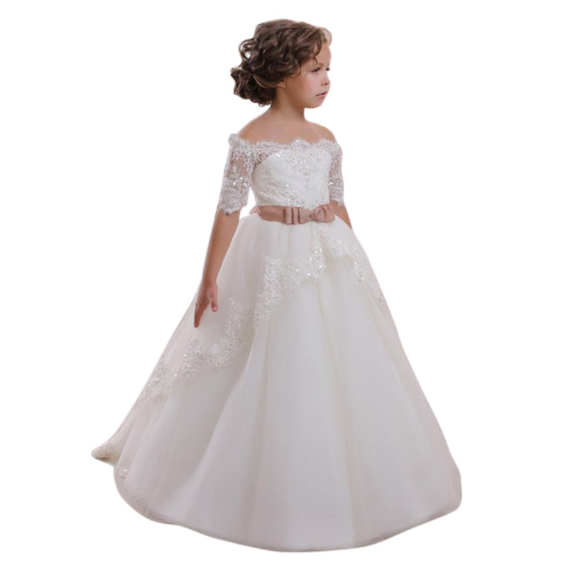 ФОТО High Quality Children Party Dress Comfortable Girls White Wedding Dresses Princess Costume Shoulderless Collar