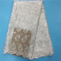 Hot Sale french lace 5yards/lot cheap african sequins lace fabric white high quality african tulle lace fabric