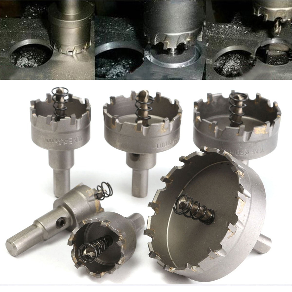 6PCS HSS Hole Saw Set Metal Carbide Tip TCT Core Drill Bit Hole Saw Alloy Steel Cutter Power Tool 22/30/35/45/50/65mm