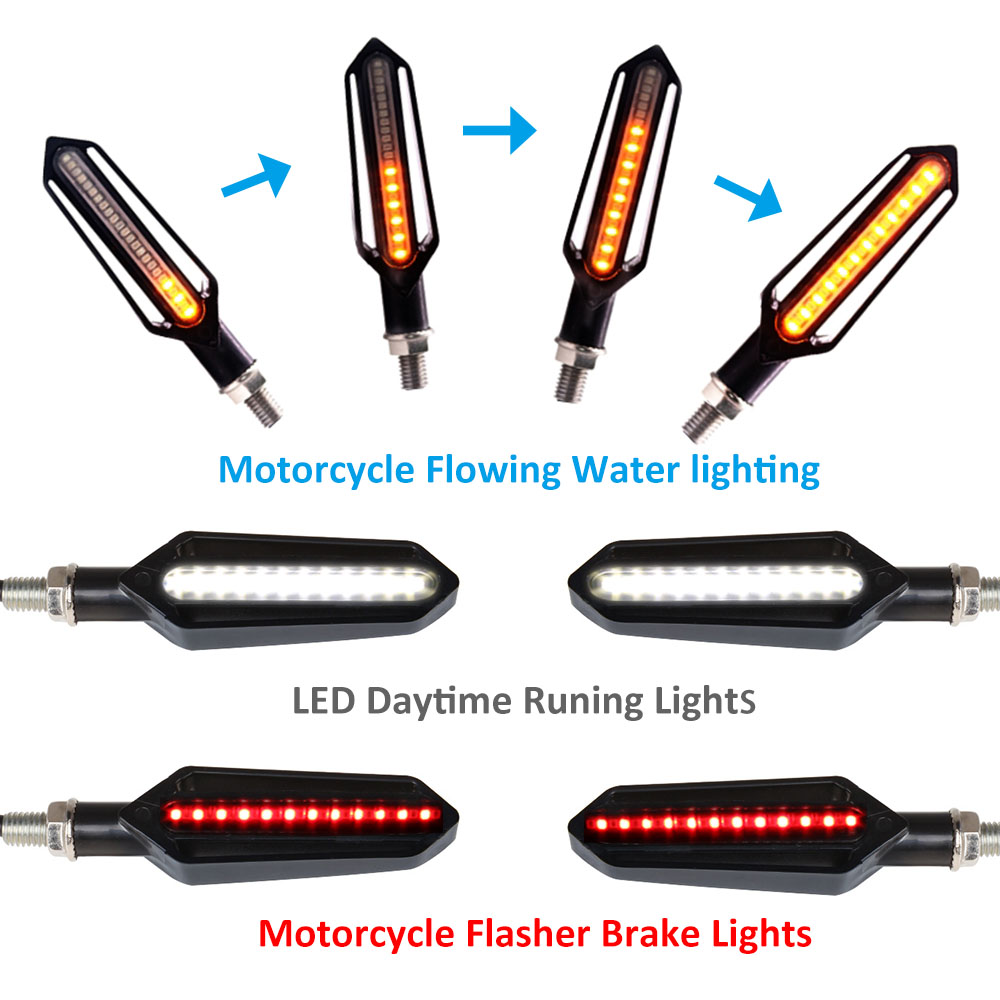 Flowing motorcycle turn signal lights LED Amber Indcator Lamp Blinker Flasher FOR honda magna nc700 yamaha xjr 1300 mt 03 mt 07