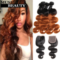 Queen 1B 30 Ombre Brazilian Body Wave Hair With Closure 10A Brazilian Ombre Human Hair 4 Bundles With Closure Black Friday Deals