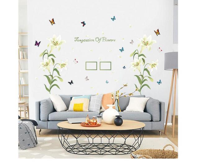 US $5.03 16% di SCONTO|New Lily Cornice accogliente camera da letto  ingresso soggiorno decorativi adesivi murali amore caldo della parete di  carta per ...