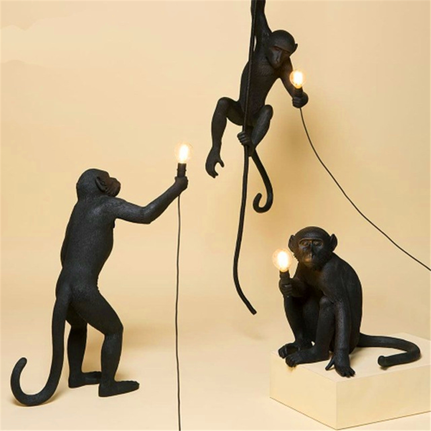Nordic Resin Monkey Lamp Led Pendant Light Lighting Living Room Restaurant Bedroom Luminaire Kitchen Fixtures Suspension 7 Color-in Pendant Lights from Lights & Lighting