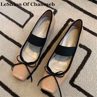 Sweet Bow Knot Women's Real Cow Leather Ballet Flats Ladies Larger Size 43 Elastic Band Ballerina Shoes Nude Flats buty damskie