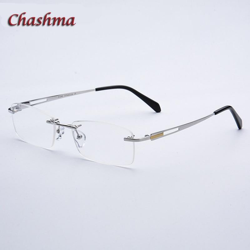 Chashma Wide Face Rimless Glasses Pure Titanium Frame Men Eyewear Ready Prescription Graduation Glasses with Recipe