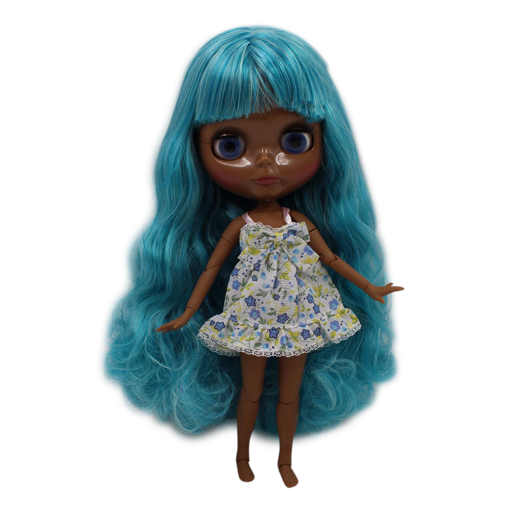 fortune days factory blyth doll super black skin tone darkest ultra skin long green Aquamarin joint body 1/6 30cm 280BL4006/4302 цены онлайн