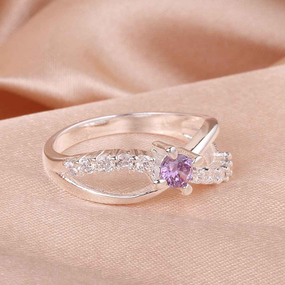 hot sell 2015 newest silver plated wedding ring Insets 8word purple ...