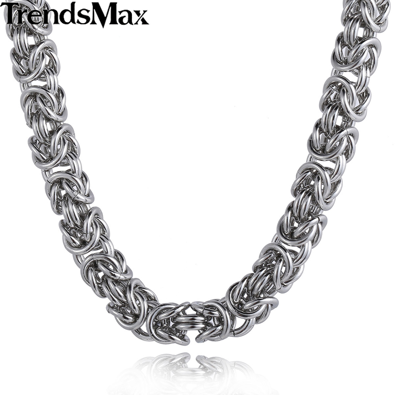 Mens Gold Byzantine Necklace: Trendsmax Stainless Steel Byzantine Link Silver Color Gold
