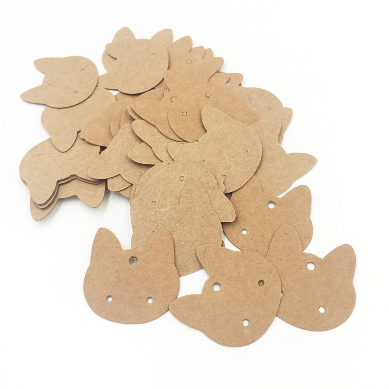 500pcs Brown Cute Cat Design Paper Earring Card Holds 3.5x3.5cm Custom Jewelry Earring Packaging Display Cards HR004