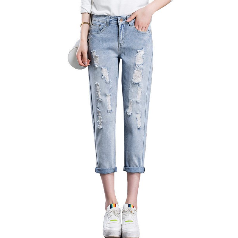 Women Hole Harem Denim Pants New Fashion Mid Waist Bleached Jeans Light Blue Pants Summer Style Loose Thin Jeans Ladies Trousers free shipping fashion women jeans loose ankle length ripped hole harem denim pants korean style casual mid waist femme trousers
