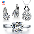 GALAXY Brand Luxury Bridal Wedding Jewelry Sets Real White Gold Plated CZ Zircon Ring Necklace Earrings Set For Women YS015