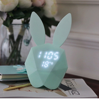 Thermometer Calendar Rabbit Ears Alarm Clock Rechargeable Smart Voice Control Small Night Lamp Magnet Adsorption Lovely Clock