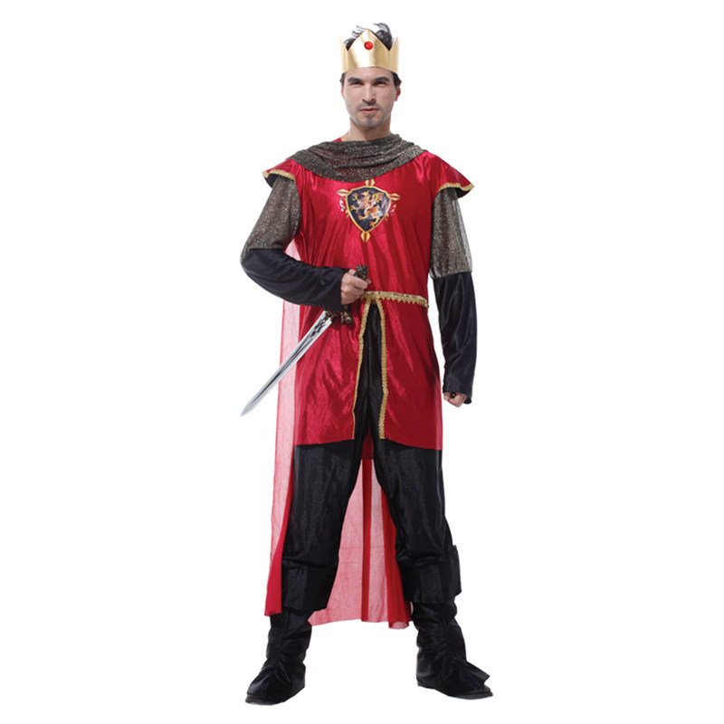 Noble red king costumes prince cosplay men Halloween costumes for fancy dress party masquerade performance clothes