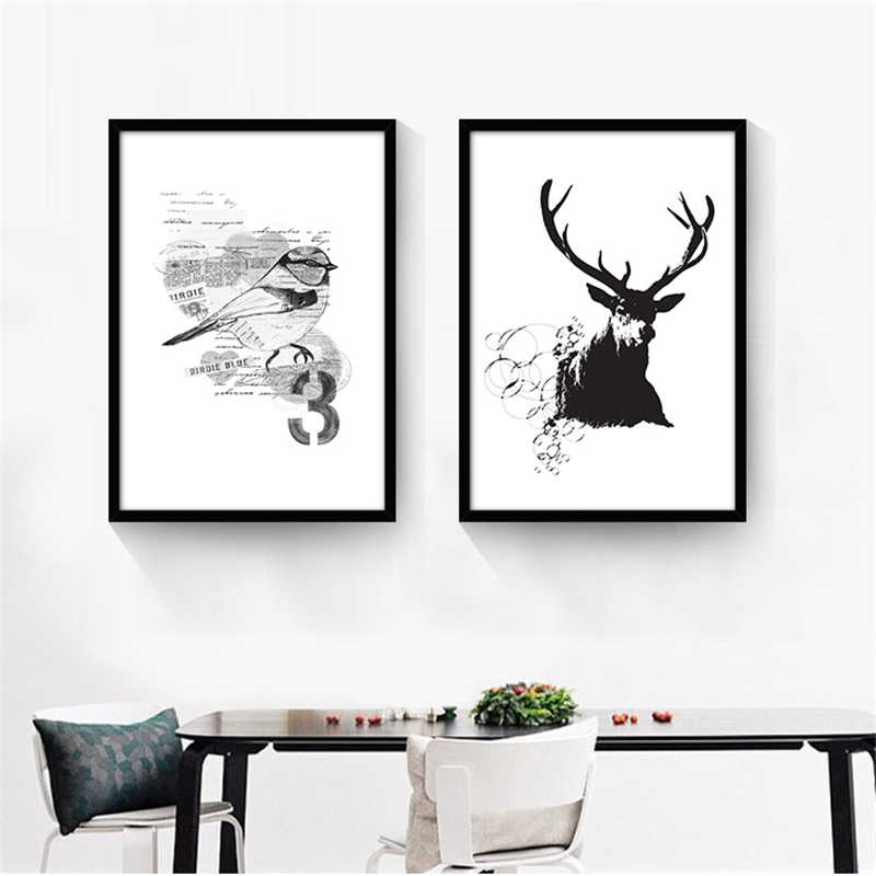 Enchant Nordic Simple Birds Letter Geometric Pattern Mural Art Drawing Canvas Paper Good Wall Painting Office Cafe Home Decor