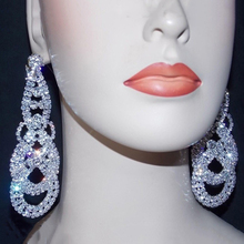 Shevalues Clear Crystal Big Drop Earrings Silver Tassel Hollow-out Long Dangle W