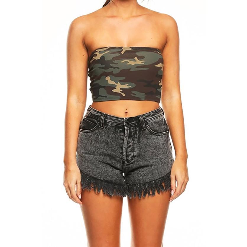 #5 2019 Neue Heiße Mode Frauen Liebsten Camouflage Boob Bandeau Rohr Tops Bh Dessous Brust Wrap Kurze Täglichen Frühling Freies Schiff
