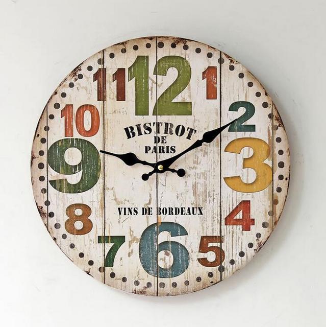 Silent Home Decorative Rainbow Numbers Digital Clock American Style Living Room Wall Clock