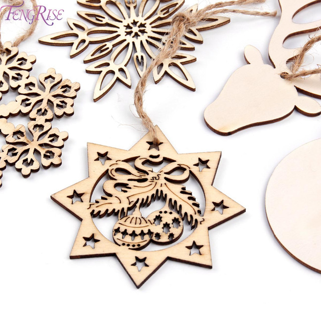 fengrise wooden snowflakes christmas tree garland wood christmas ornament christmas decorations for home xmas noel party