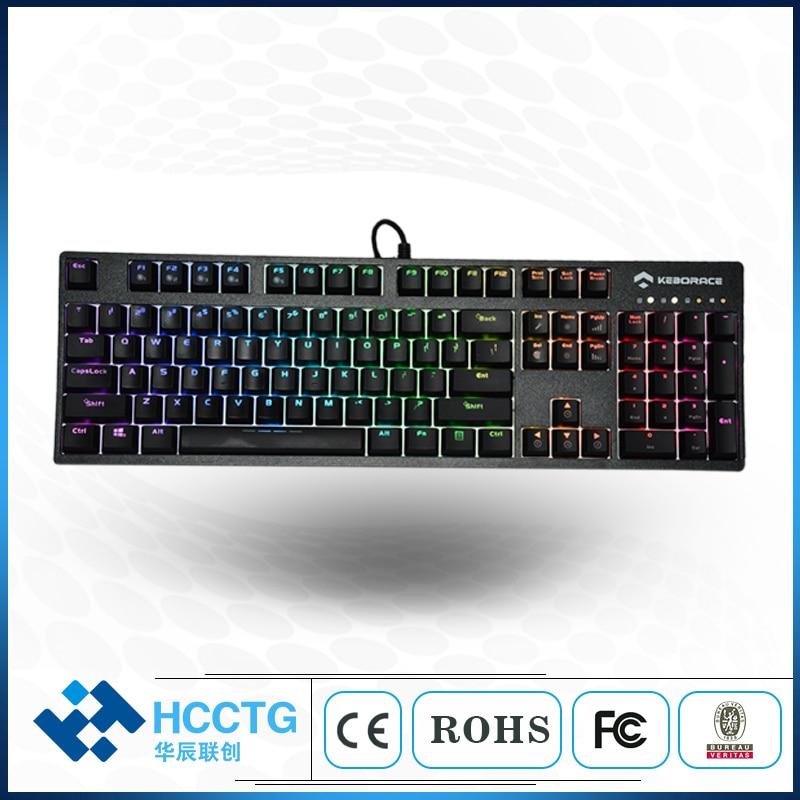 PBT keycaps mechanical keyboard red switch white backlight 104 keys game keyboard HGK104B-R-W-US аксессуар belsis vga svga to vga svga 5m bw1773