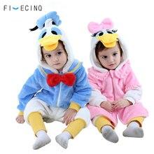 Animal Duck Kigurumis Baby Cosplay Costume Blue Pink Girl Boy Onesie Kawaii Zipper Jumpsuit Fancy Child Pajama Halloween Party