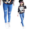 Dressnomore Jeans Para Las Niñas Adolescentes Flaco Rasgado Lápiz Denim Pants Kids Tight Jeans Ropa de Los Niños 5-14 años