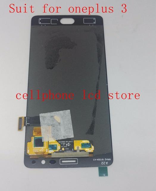 Amoled tela lcd + digitador assembléia vidro touch para oneplus 3 três a3003 a3000 substituição pantalla ue/china versão