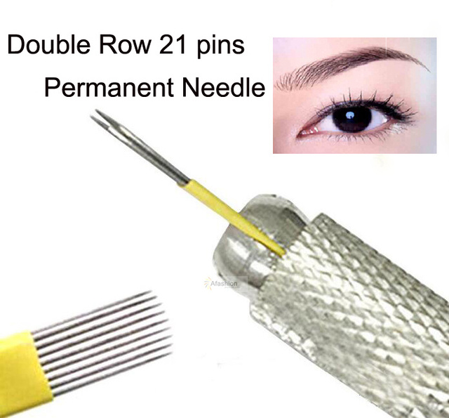 30pcs Double Row 21pins Eyebrow Permanent Makeup Needles Eye Line 3d Microblading Make Up Tattoos Flat Microblade